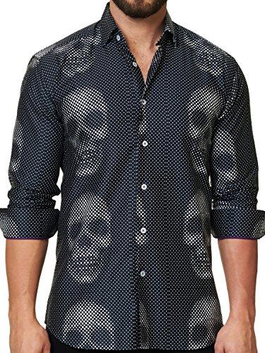 (Maceoo Mens Designer Dress Shirt - Stylish & Trendy- Luxor Funky Skull Black)