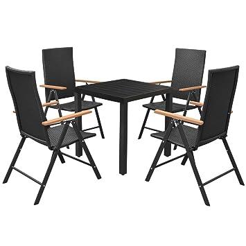 vidaXL Mobilier d Extérieur 5 pcs Résine Tressée WPC Aluminium Chaises Table 9f11f2a95f55