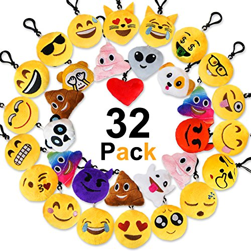 MelonBoat 32 Pack Emoji Mini Plush Pillows, Keychain Decorations, emoticon pillow, Kids Party Supplies Favors, 2