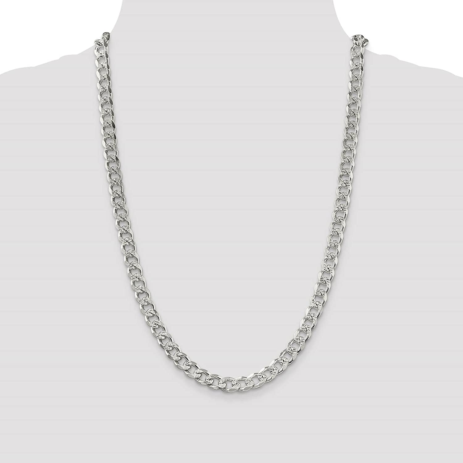925 Sterling Silver 8mm Solid Polished Pave Curb Link Chain Necklace 8-24