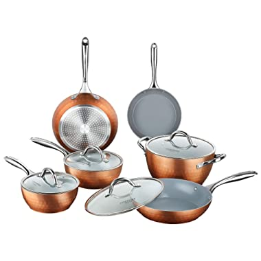 COOKSMARK Diamond Texture Non Stick Induction 10-Piece Cookware Set Ceramic Coating Scratch-Resistant Pots and Pans Set with Lids Dishwasher Safe Oven Safe