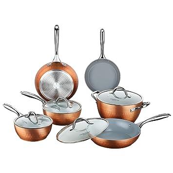 Cooksmart Juego de 10 utensilios de cocina de inducción antiadherentes con textura de diamante revestimiento de cerámica resistente a los arañazos ollas y ...