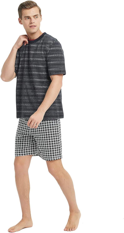 Godsen Men's Cotton Sleepwear Pajama Lounge Sets with T Shirts and Shorts