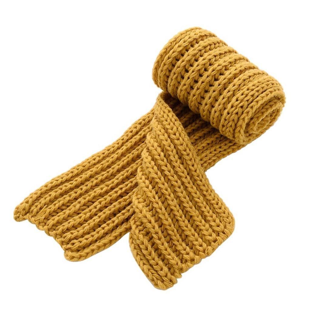 MuSheng(TM Enfants Garçon Fille Bébé Hiver Solide Couleur Écharpe Cou Chaud Tricot Écharpe de Laine (Jaune)