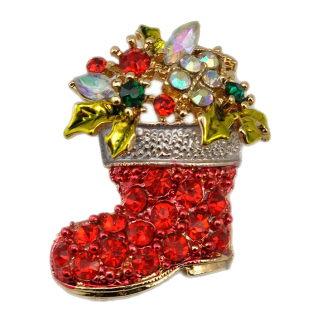 Winuxury Women's Christmas Boots Brooches with Crystal Multicolor Flowers Diamante Genuine Lapel Pin