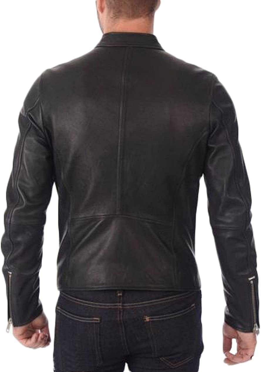 Men Slim Fit Biker Motorcycle Lambskin Leather Jacket Coat Outwear Jackets N1403