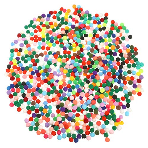 Price comparison product image Hekoy 1000 Piece 0.393 Inch Craft Pom Poms Balls Fuzzy Christmas Pompoms Multicolor Elastic Puff Balls for Hobby Supplies DIY Creative Crafts Decorations