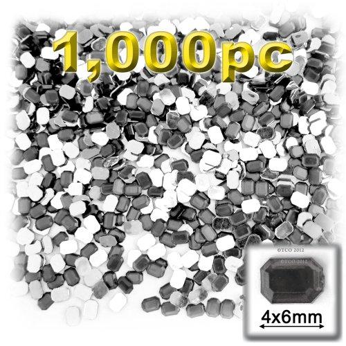長方形の八角形Craftsコンセント1000-pieceアクリルアルミ箔フラットバックラインストーン、4by 6mm、チャコールグレーの商品画像