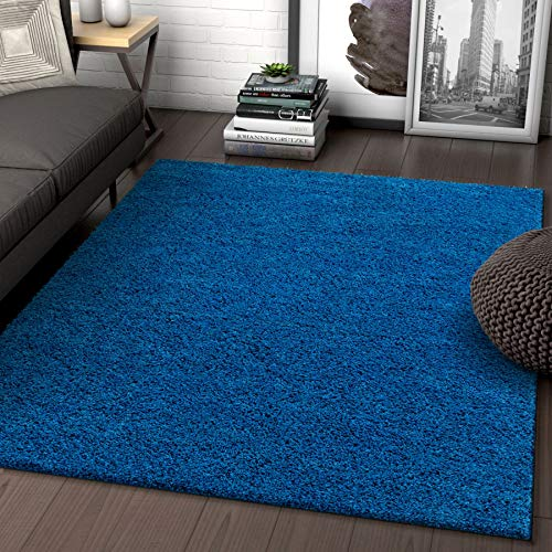 Solid Retro Modern Dark Blue Shag 3x5 (3'3'' x 5'3'') Area Rug Plain Plush Easy Care Thick Soft Plush Living Room Kids Bedroom
