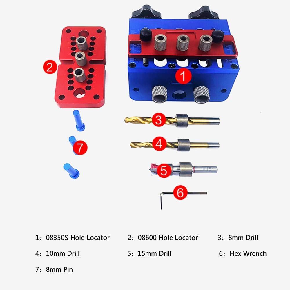 Baugger Baugger Woodworking Dowel Jig Kit Kit de Plantilla de Pasador para Carpinter/ía Localizador de Perforaci/ón Sistema de Plantilla de Orificio 3 En 1 Sistema de Plantilla de Punz/ón para Perforad