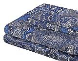 Superior 300 Thread Count Cotton Alderwood Print Sheet Set Twin Navy Blue