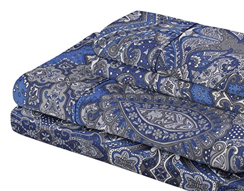 Superior 300 Thread Count Cotton Alderwood Print Sheet Set Full Navy Blue