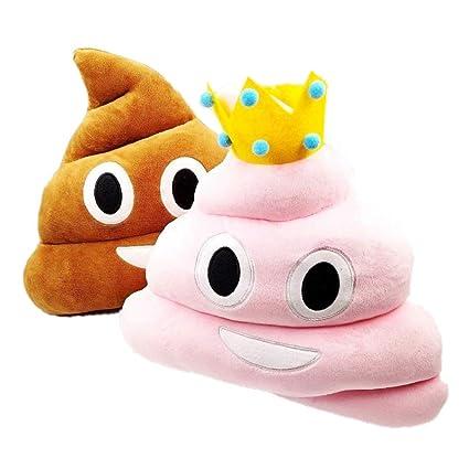 JZK 2 Emoji emoticono cojín almohada redonda emoticon peluche bordado sonriente 36cm rosa y marrón