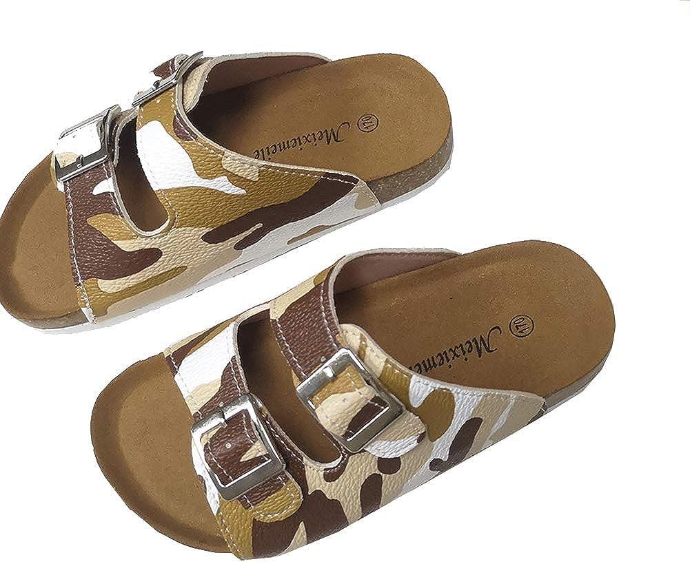 AGOWOO Boys Girls Toddler Kids Open Toe Cork Soft Wood Beach Sandals