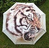 Brown Women'S Mens Oil Painting Tiger Print Sun/Rain Umbrella Hot