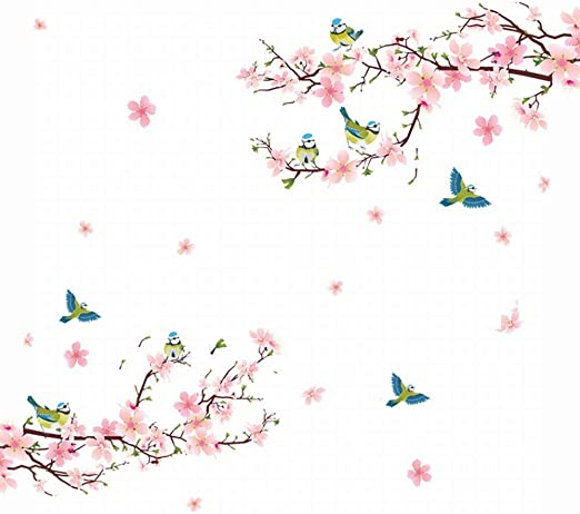 amazon com alicemall floral wall sticker beautiful pink cherry blossom peach flower wall sticker birds and flowers pastoral style wall decals for living room and bedroom tv background stickers pink kitchen dining alicemall floral wall sticker beautiful pink cherry blossom peach flower wall sticker birds and flowers pastoral style wall decals for living room and
