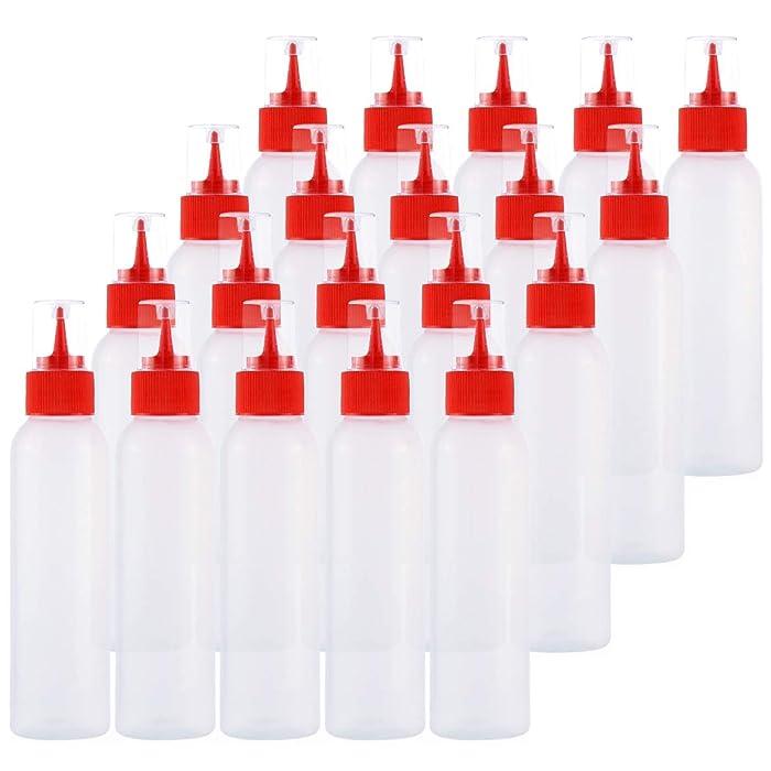 Kingrol 20-Pack Easy Squeeze Writer Bottles, 4 Ounces Soft Applicator Bottle for Paint, Glue, Glaze, DIY Craft, Art - Red
