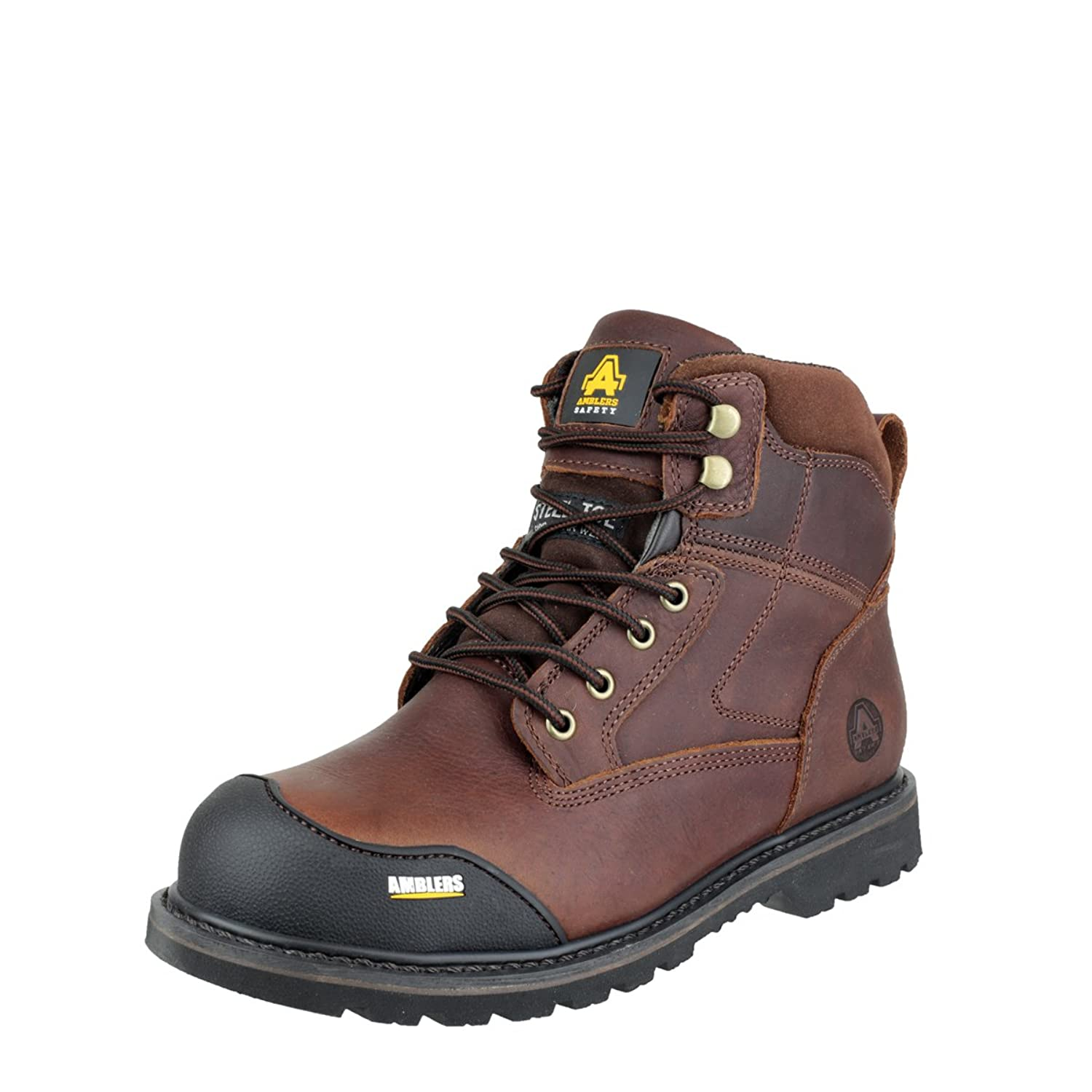 a530d7a7888 Ambers Safety Mens Brown FS167 Rubber Sole Slip Resistant Tumbled Boots