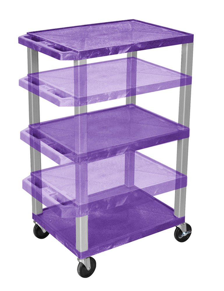 Luxor WT1642PE-N Purple Multi-Height Multipurpose A/V Cart with 3 Shelves, Electric - Nickel