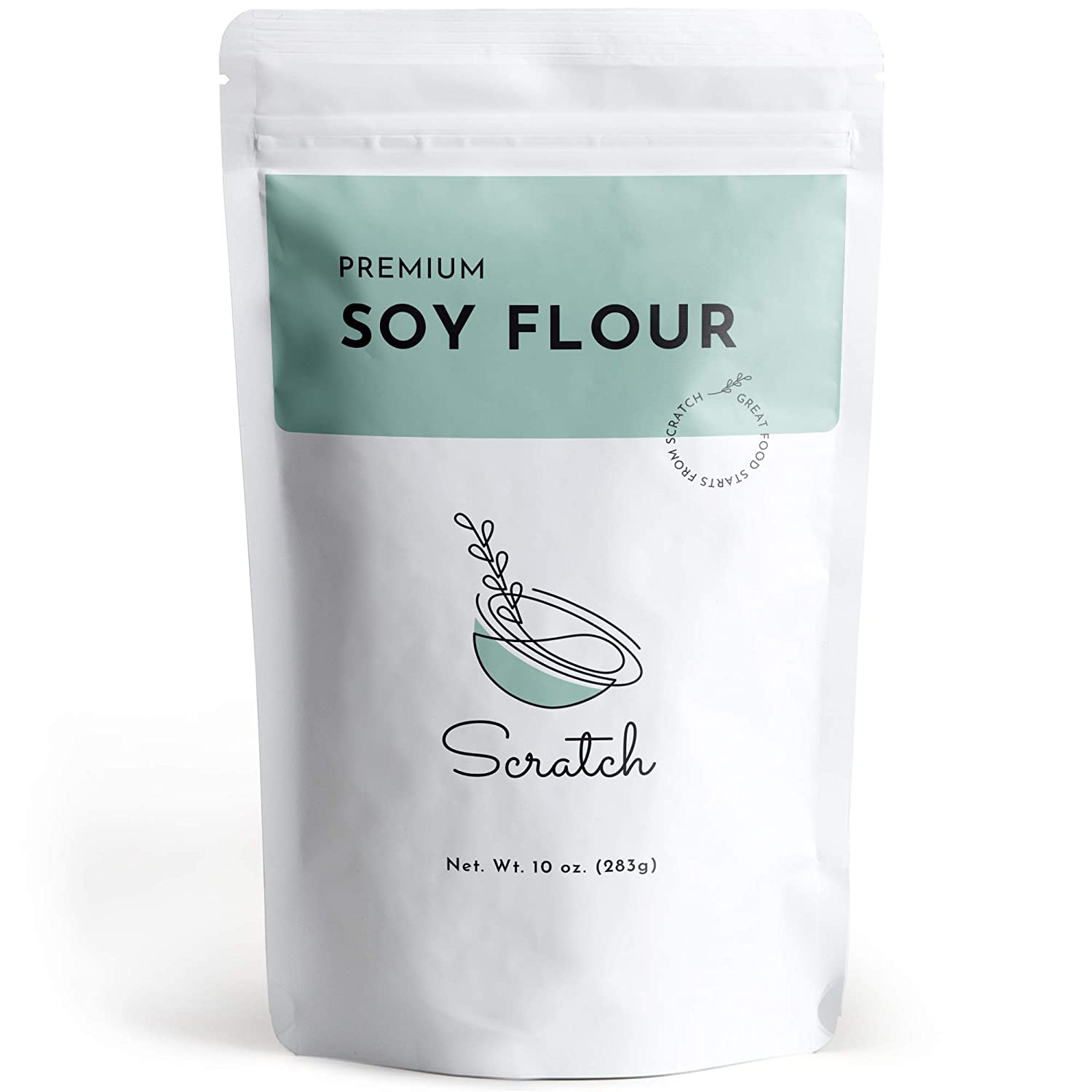 Scratch Premium Defatted Soybean Flour - Gourmet Baking Ingredients - Contains Calcium, Iron, Potassium, Protein, & Dietary Fiber - Rich Nutty Flavor - Low in Fat - Great Wheat Substitute (10oz)