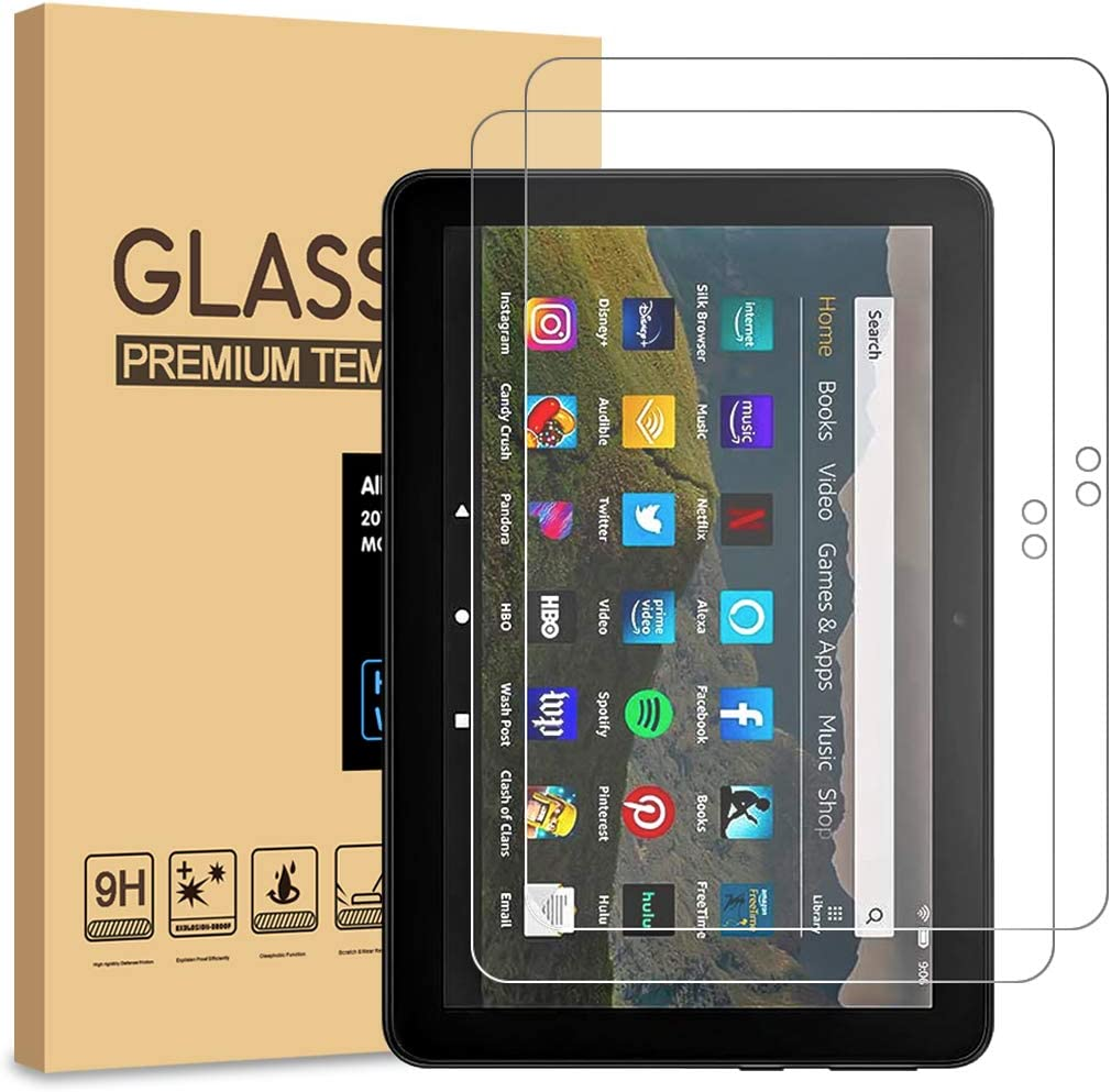 [2-Pack] PULEN for All-new Fire HD 8/Fire HD 8 Plus/Fire HD 8 Kids/Fire HD 8 Kids Pro 2021 Screen Protector (2020 Release),HD No Bubble 9H Hardness Anti-Scratch Tempered Glass (8.0 Inch)
