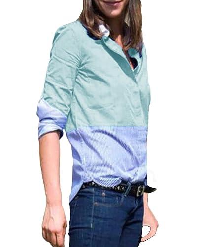 Auxo Camiseta Mujeres Manga Larga Tops Blusa Rayas Botón Camisas Slim Otoño Casual OL Formal T Shirt...
