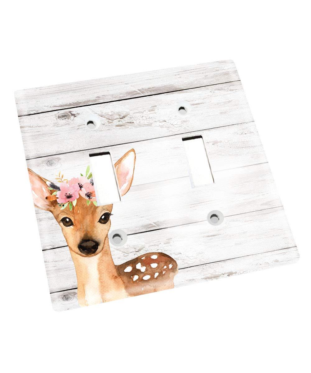 Single Standard Cute Deer Floral Kids Nursery Bedroom Light Switch Cover LS0100