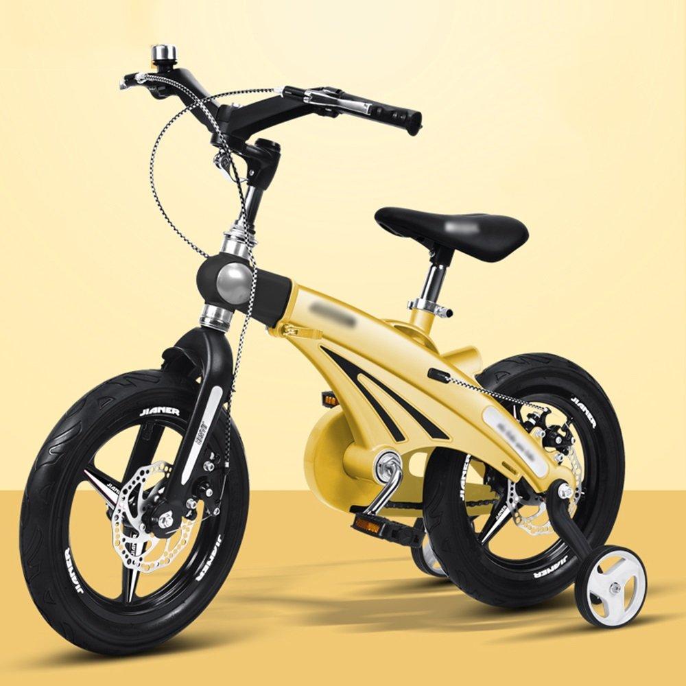 HAIZHEN マウンテンバイク 子供用自転車ベビーキャリッジ12/14/16インチマウンテンバイク自転車折りたたみハンドルバーカラー複数選択 新生児 B07CG22VJS 12インチ|イエロー いえろ゜ イエロー いえろ゜ 12インチ