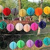 Veewon 12misti taglia pompon in carta velina a nido d' ape palle per matrimonio festa di compleanno doccia decorazione domestica–colore casuale