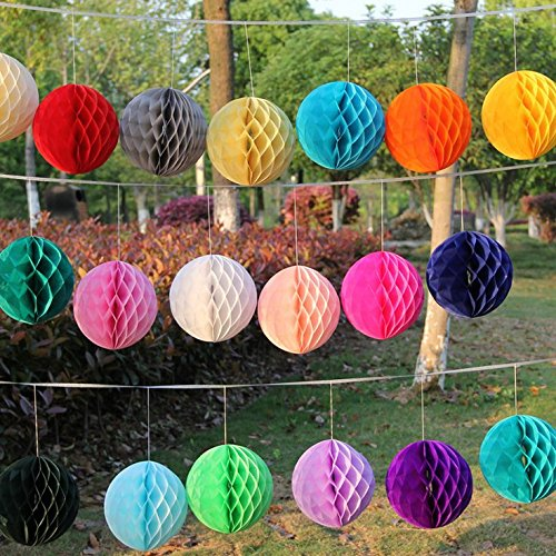 Losuya 12 Mixed Size Tissue Paper Pom Poms Honeycomb Balls for Wedding, Birthday, Baby Shower Party Home Decoration - Random Color
