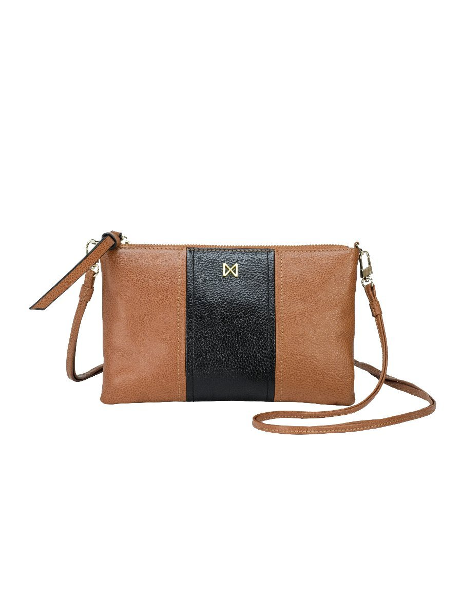 KINETIC Convertible Pebble Leather Colorblock Crossbody Clutch with Detachable Shoulder Strap