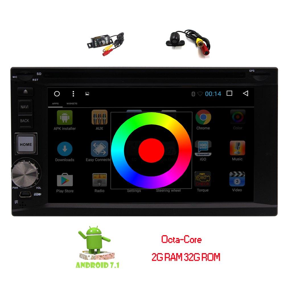 デュアルカメラが含まれて! 6.2インチのAndroid 7.1ヌガーカーラジオのステレオBluetooth 2GのRAM 32G ROM GPSナビゲーションダブル2ディンダッシュヘッドユニットDVD CDプレーヤーのサポートUSBのSD WIFI 3G / 4Gドングルミラーリンクで B0778TFVHY
