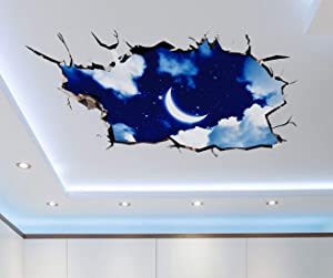 SENGTER 3D Wall Art Starry Night Wall Decals Removable Moon Wall Stickers Star Wall Posters Clouds Wallpaper Waterproof Wall Murals Wall Decor for Bedroom Home Ceiling Nursery School