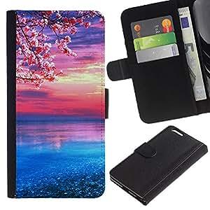 YiPhone /// Tirón de la caja Cartera de cuero con ranuras para tarjetas - flor de cerezo - Apple Iphone 6 PLUS 5.5