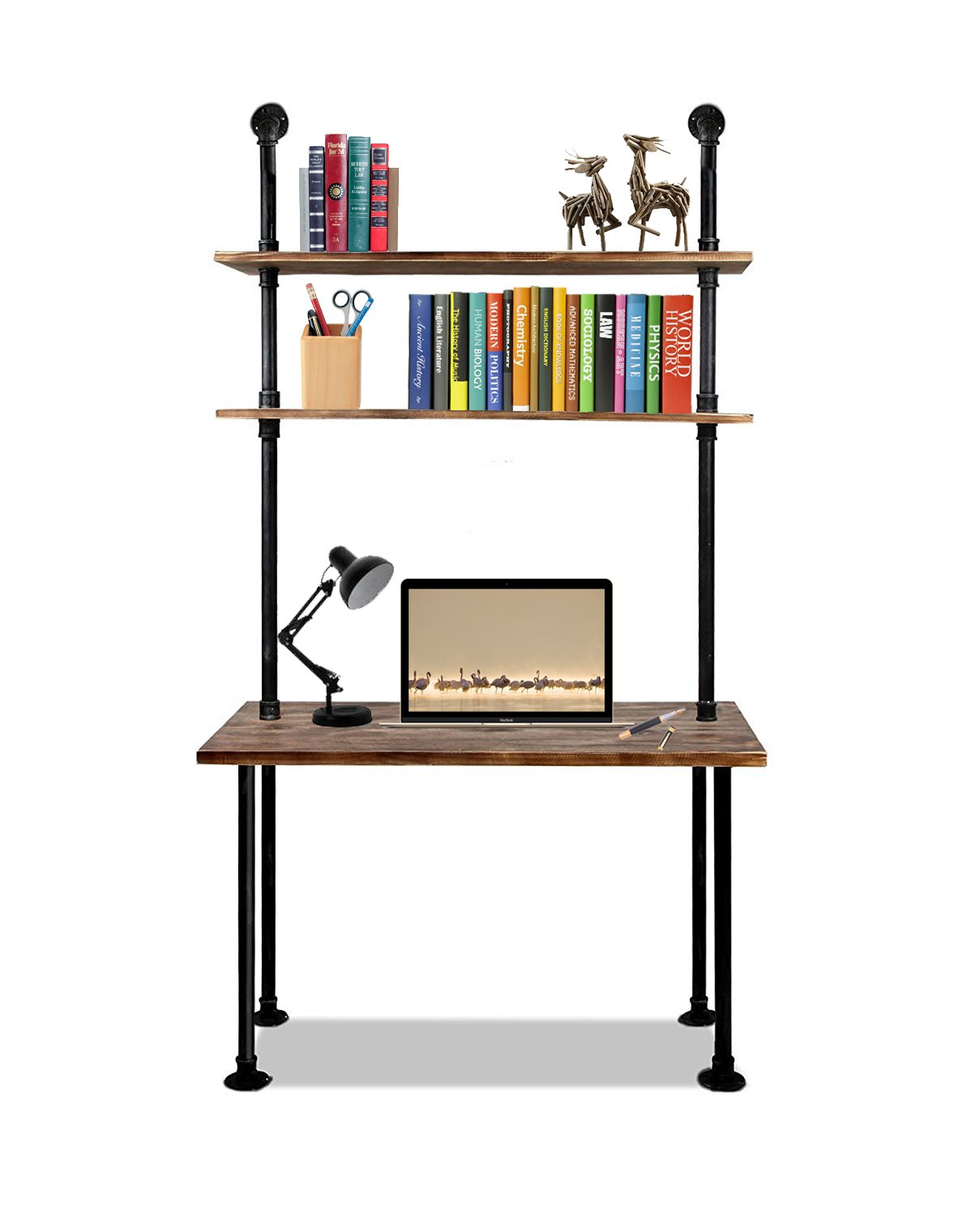 Articial 79-inch Industrial Laptop Desk Solid Wood Computer Desk Wall Pipe Desk with Shelves Computer Table for Home Office
