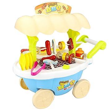 Homyl Juguete Infantil Preescolar Carrito de Helados Alimentos de Silumación Plástico Azul en Miniatura para Dollhouse: Amazon.es: Juguetes y juegos