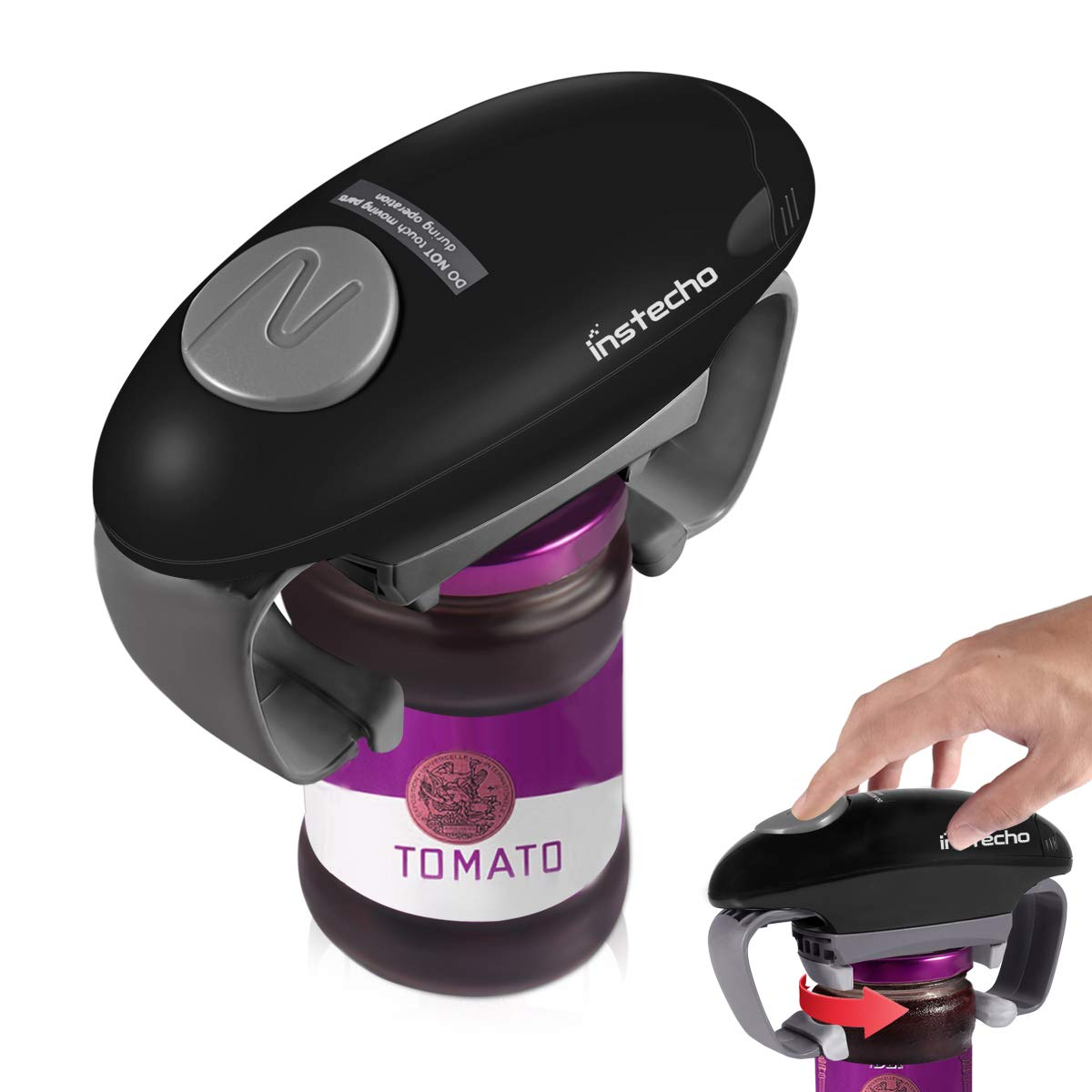 Automatic Jar Opener, Hands Free Easy Open Can Tin Open Tool Electric Jar Opener For New Factory Sealed Jars (Black)