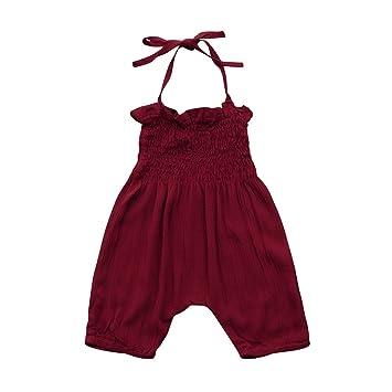 273ee43c5b209 (プタス)Putars ベビー服 子供服 ロンパース 女の子 ホルターネック ワインレッド ボヘミア風 春 夏