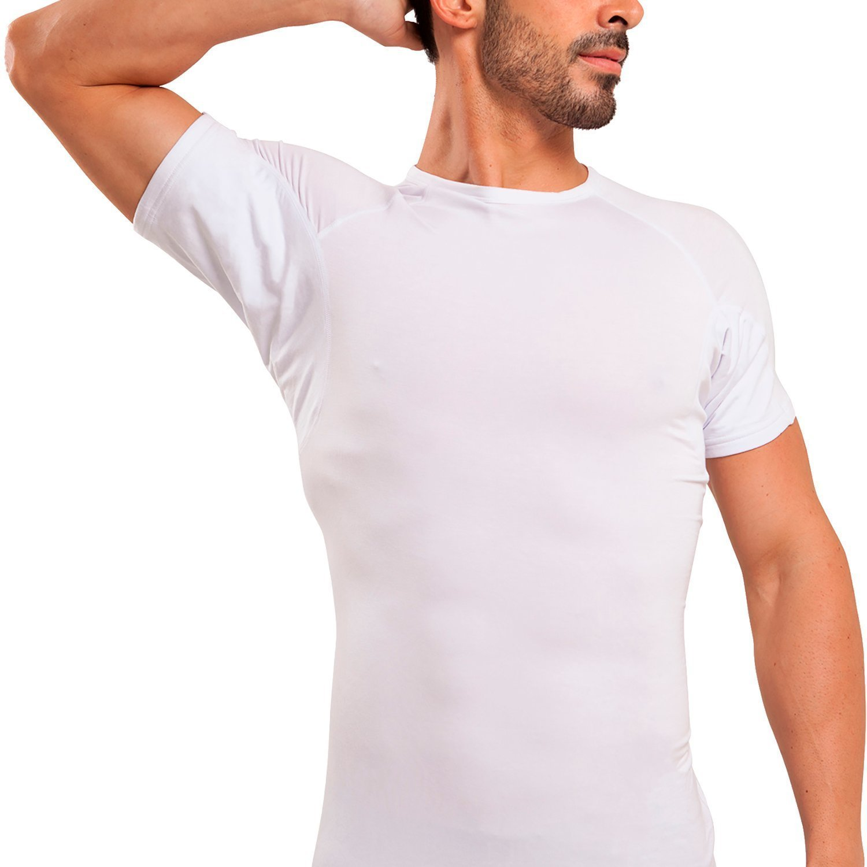 Ejis Sweat Proof Undershirts Men w/Sweat Pads & Silver, Micro Modal Crew Neck