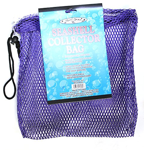 Mesh Collection Bag (Mesh Seashell Collection Bag (12 inches x 12 inches) with Shell Identification Guide (Purple))