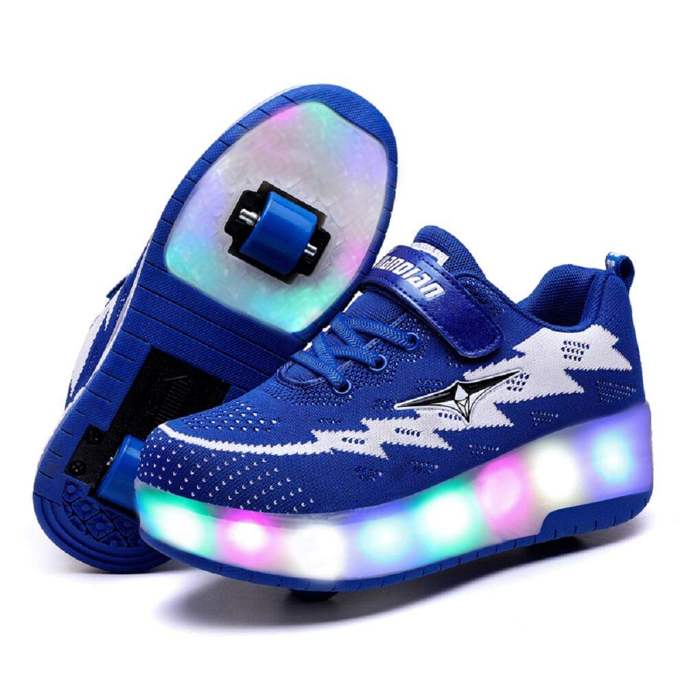 ONEKE Roller Skates Boys Girls Kids Light Up Shoes Sneakers USB Charge LED Wheeled Skate Running Shoes Rollerblades Sports Skating Shoes for Beginners (Blue, 13M Little Kid)