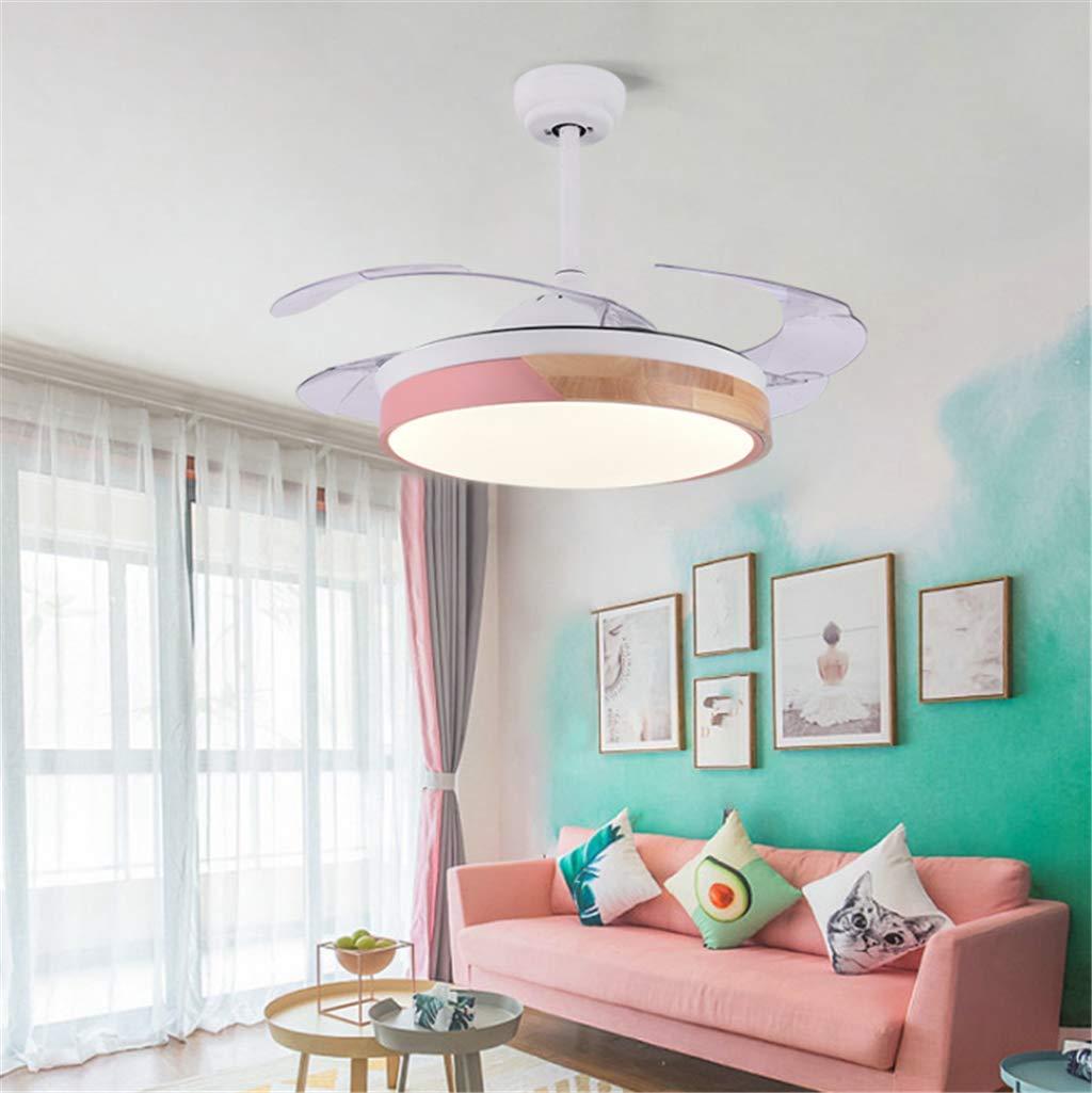 JINWELL Ventilador de techo Modern Macarons Acr/ílico simple Led creativo Ventilador LED de techo Dormitorio de la oficina Habitaci/ón para ni/ños Ni/ños y ni/ñas Dormitorio Ventiladores de techo,91cm