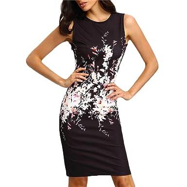 Elecenty Damen Sommerkleid Ärmellos Knielang Kleider Bodycon Frauen  Partykleid Mode Rundhals Kleid Pencil Minikleid Kleidung  Amazon.de   Bekleidung 529321e7a7