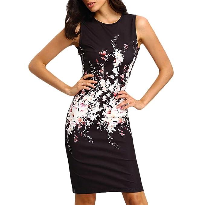 ce61ce6494be25 Elecenty Damen Sommerkleid Ärmellos Knielang Kleider Bodycon Frauen  Partykleid Mode Rundhals Kleid Pencil Minikleid Kleidung: Amazon.de:  Bekleidung