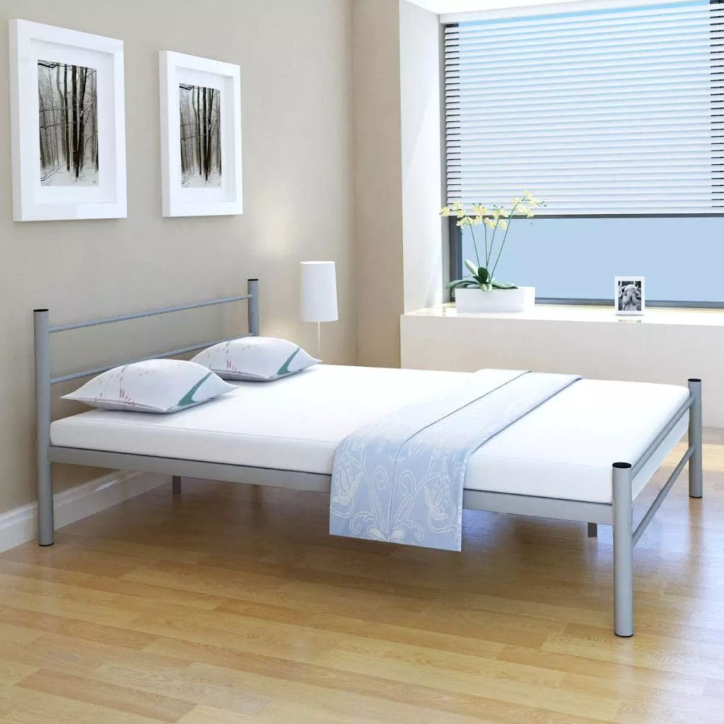 Bed 140 Cm.Weilandeal Double Bed With Mattress 140 X 200 Cm Grey Metal Beds Bed