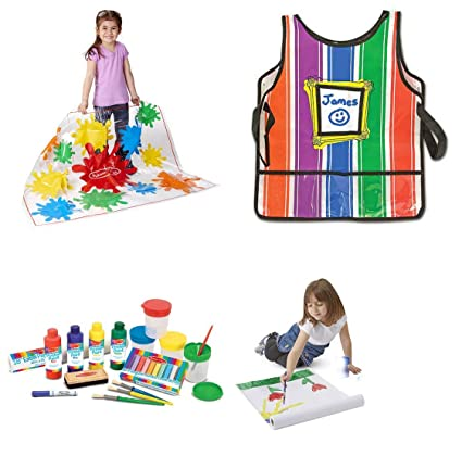 Melissa Doug Easel Accessory Set With Drop Cloth 1 Dry Erase Marker 1 Sleeveless Durable Artist S Smock