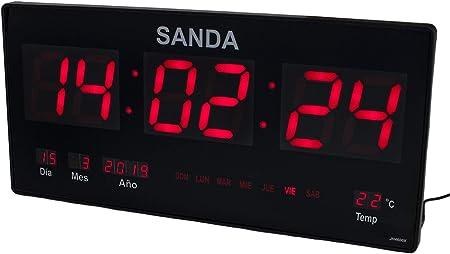 Sanda SD-0006 Reloj Digital de Pared Led Color Rojo Calendario Termometro Clock Hora Fuente de Alimentacion: Amazon.es: Hogar