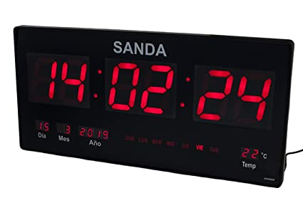 Sanda SD-0006 Reloj Digital de Pared Led Color Rojo Calendario Termometro Alarma Despertador Clock Hora Fuente de Alimentacion