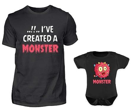 Vater Baby Partnerlook Lustiger Monster Spruch Tshirt Baby Body Strampler Outfit Set Rundhals Papa Sohn Tochter Partner Look Für Herren Jungs Und