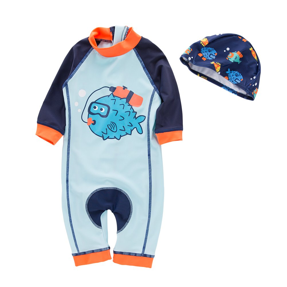 May's Kids Boys Cartoon Onepiece Sun Protection Swimwear Swimming 2 Pieces Sets